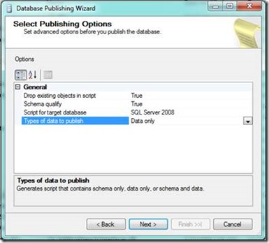 Database Publishing Wizard - Select Publishing Option