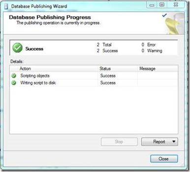 Database Publishing Wizard - Publishing Progress