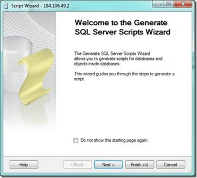 SQL Server Generate Script - Wizard Dialog
