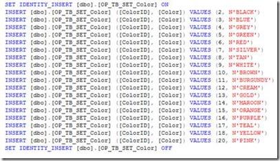 SQL Server Generate Script Wizard - Generated Script