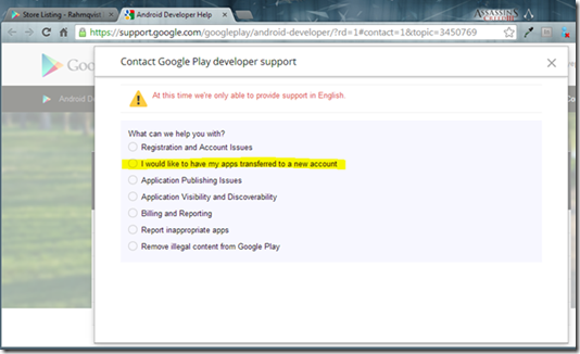 Google Play: Contact Support