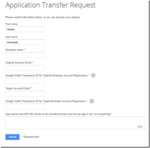 Google Play: Application Transfer Request Form